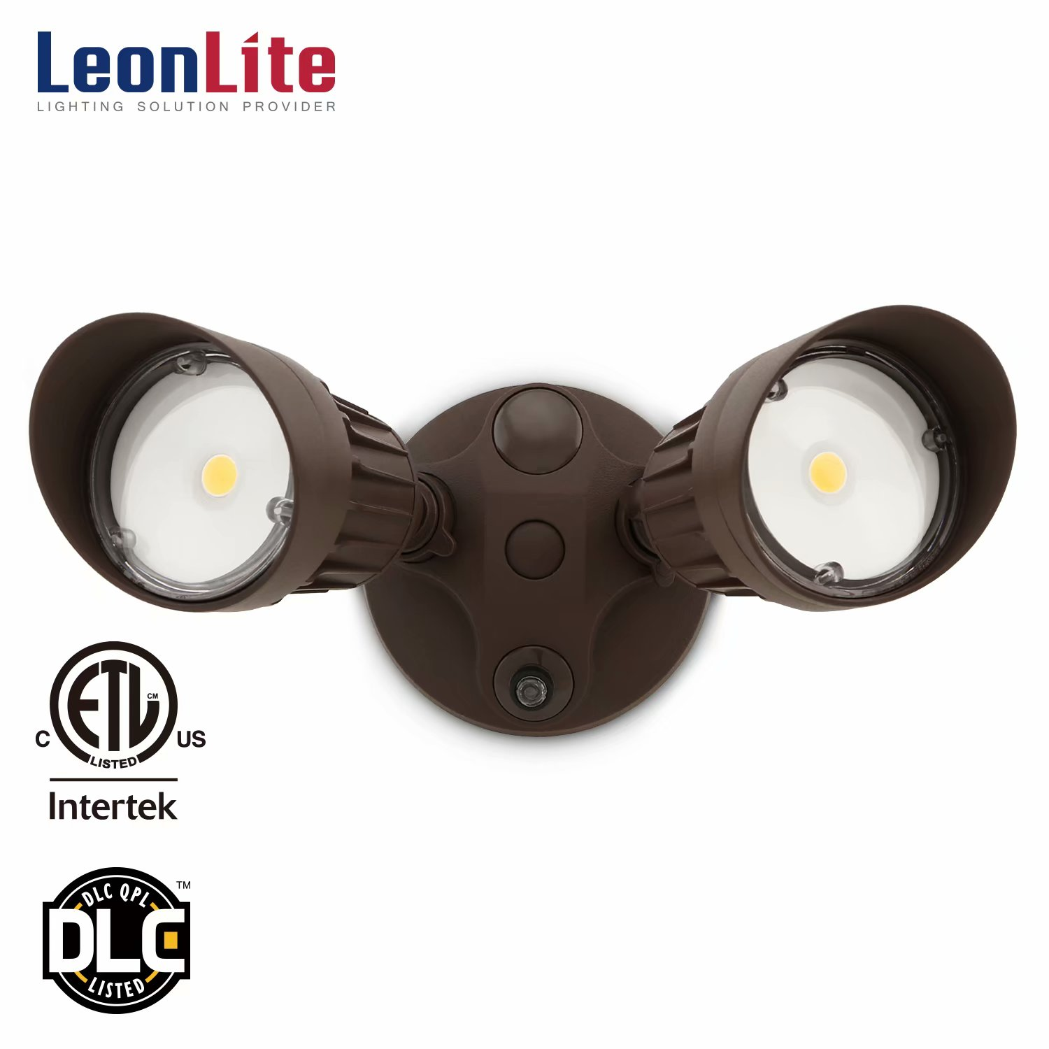 LEONLITE 20W Two-head LED Outdoor Security Light, Dusk to Dawn Photocell, 1800lm LED Flood Light for Yard, Garage, Porch, Entryways, Porch, 5000K Daylight, Bronze
