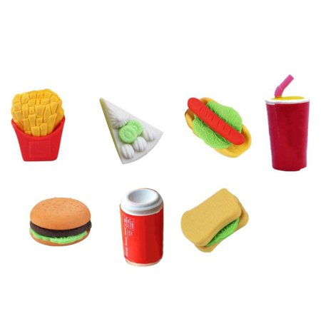 7pcs/set Hamburger Fries Hot Dogs Coke Cans Small Cake Sandwiches School Office Food Erase