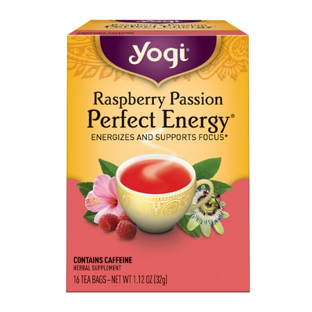 (3 Boxes) Yogi Tea, Raspberry Passion Perfect Energy Tea, Tea Bags, 16 Ct, 1.12