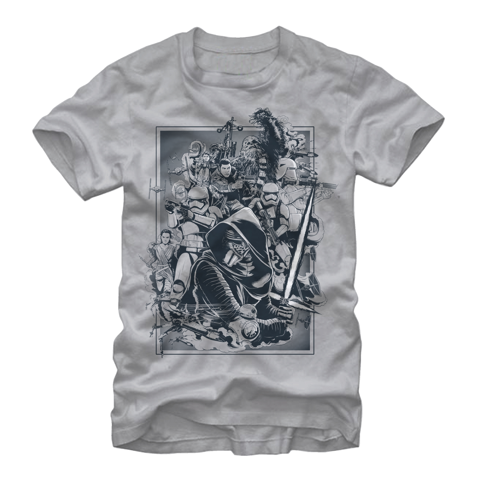 Star Wars The Force Awakens- Clash Of Forces Apparel T-Shirt - Grey