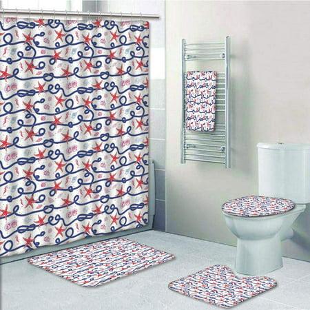 EREHome Nautical Navy Marine Rope Red Starfish Shells Scallops Seahorses 5 Piece Bathroom Set Shower Curtain Bath Towel Bath Rug Contour Mat and Toilet Lid Cover - image 1 de 2