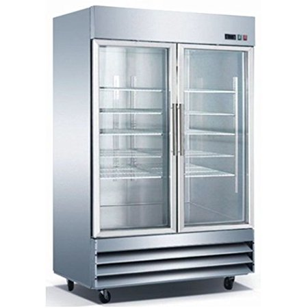 "54"" 2 Door Glass Refrigerator CFD-2RR-G Stainless Steel Trim LED Lighting"