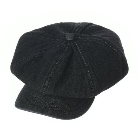 WITHMOONS Denim Cotton Newsboy Hat Baker Boy Beret Flat Cap KR3613 (Black) - Bakers Hat
