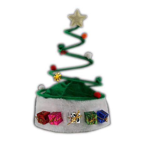 Silly Springy Costume Party Christmas Tree Plush Santa Hat - Xmas Tree Costume