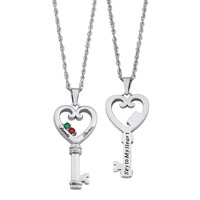 Family Jewelry Personalized Couple's Name & Birthstone Heart Key Diamond Accent Necklace