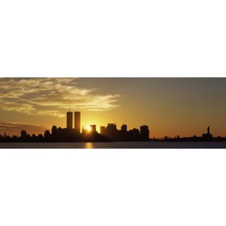 Manhattan skyline and a statue at sunrise Statue Of Liberty New York City New York State USA Poster (New York New York Statue Of Liberty)