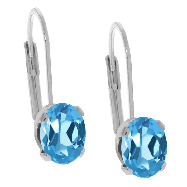 1.60 Ct Oval Swiss Blue Topaz 925 Sterling Silver Earrings