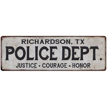 Halloween Richardson Tx (RICHARDSON, TX POLICE DEPT. Home Decor Metal Sign Gift 6x18)