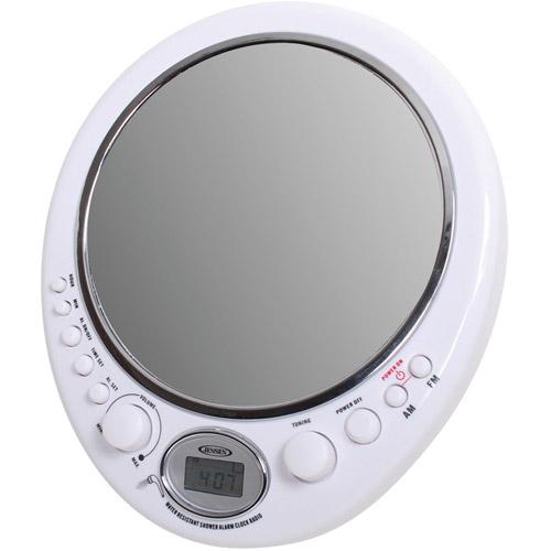 Jensen AM/FM Alarm Clock Shower Radio with Fog-Resistant Mirror