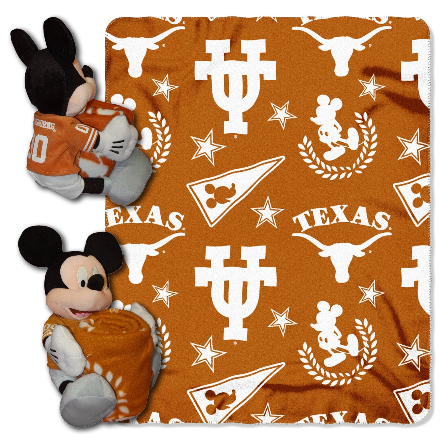 "Official NCAA and Disney Cobrand Texas Longhorns Mickey Mouse Hugger Character Shaped Pillow and 40""x 50"" Fleece Throw Set"