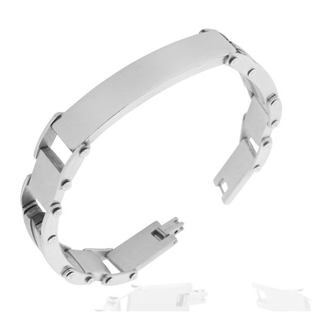 Stainless Steel Silver-Tone Link Engravable Name Tag ID Mens Bracelet,