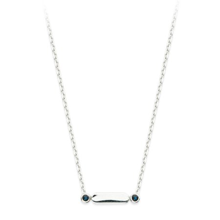 Sapphire Bag - 14k White Gold and Sapphire Bar Design Necklace