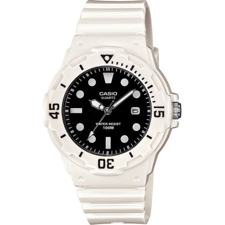 (Casio LRW200H-1E Women's White Resin Band Black Dial 100M Sports Analog Watch)