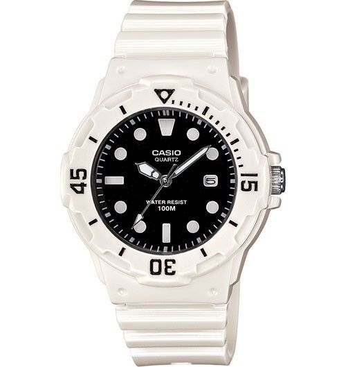 Casio LRW200H-1E Women's White Resin Band Black Dial 100M Sports Analog Watch