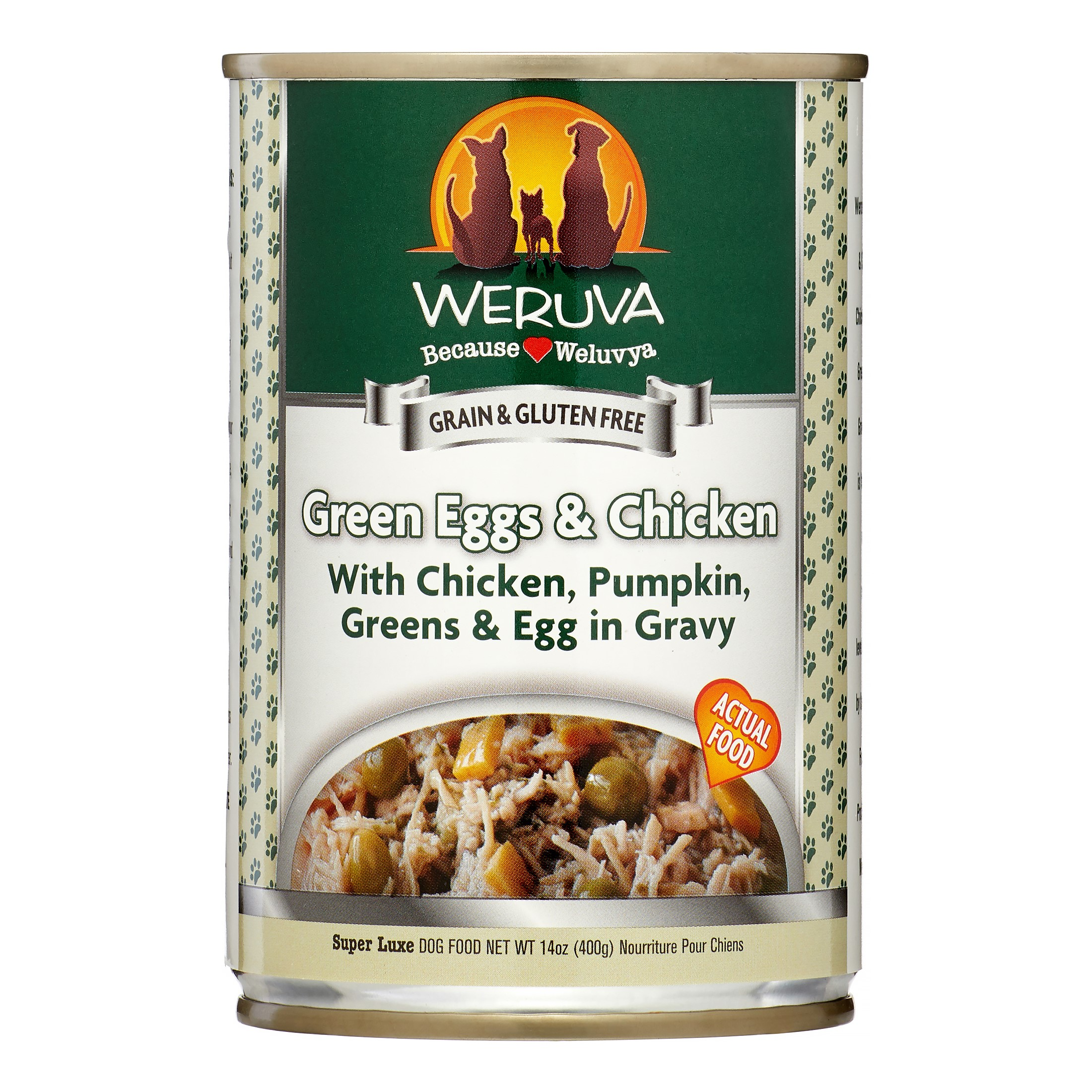 Weruva Human Style Green Eggs & Chicken, Egg & Greens in Gravy Adult Wet Dog Food, 14 Oz, Pack of 12