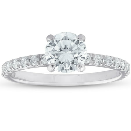 1ct Diamond Solitaire Engagement Ring 14k White Gold Claw (Claw Engagement Ring Setting)