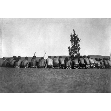 Arikara Shamans C1908 Na Group Of Arikara Shamans Seated In A Semicircle Around A Sacred Cedar Tree On The Great Plains In North Dakota Photographed By Edward S Curtis C1908 Rolled Canvas Art     24 X
