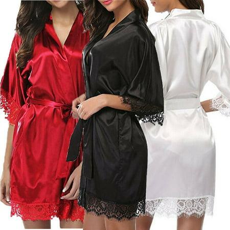 Women Satin Lace Silk Lingerie Set Sleepwear Nightdress Robe Gown Babydoll Luxury Silk Lingerie