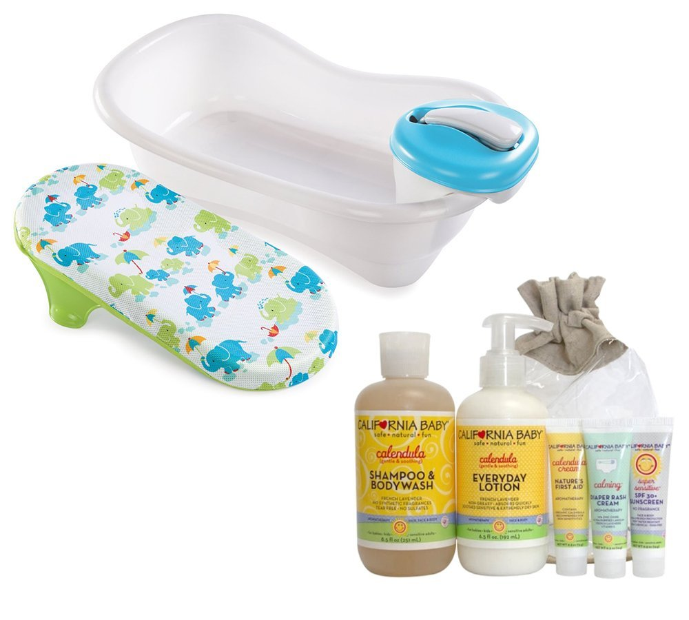 Summer Infant Newborn-to-Toddler Bath and Shower Tub with California Baby Newborn Bath Tote Set by Summer-CaBaby