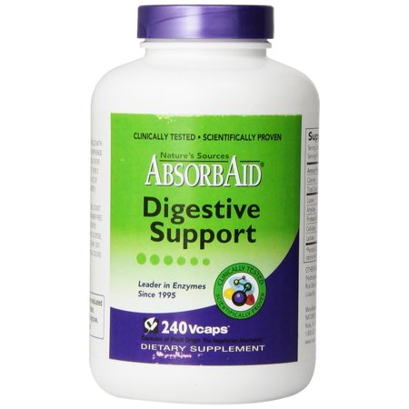 AbsorbAid Aid for Digestion and Stomach Distress Veggie Capsules, 240 Count - Absorbaid Aid