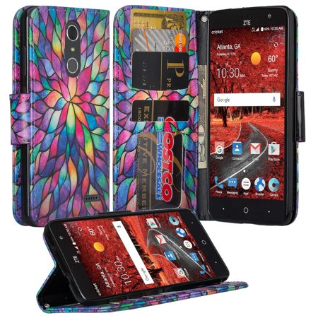 ZTE Grand X 4, ZTE Blade Spark Z971 Case, Wrist Strap Pu leather Magnetic Fold[Kickstand] Wallet Case with ID and Card Slots for Grand X4 - Rainbow Flower
