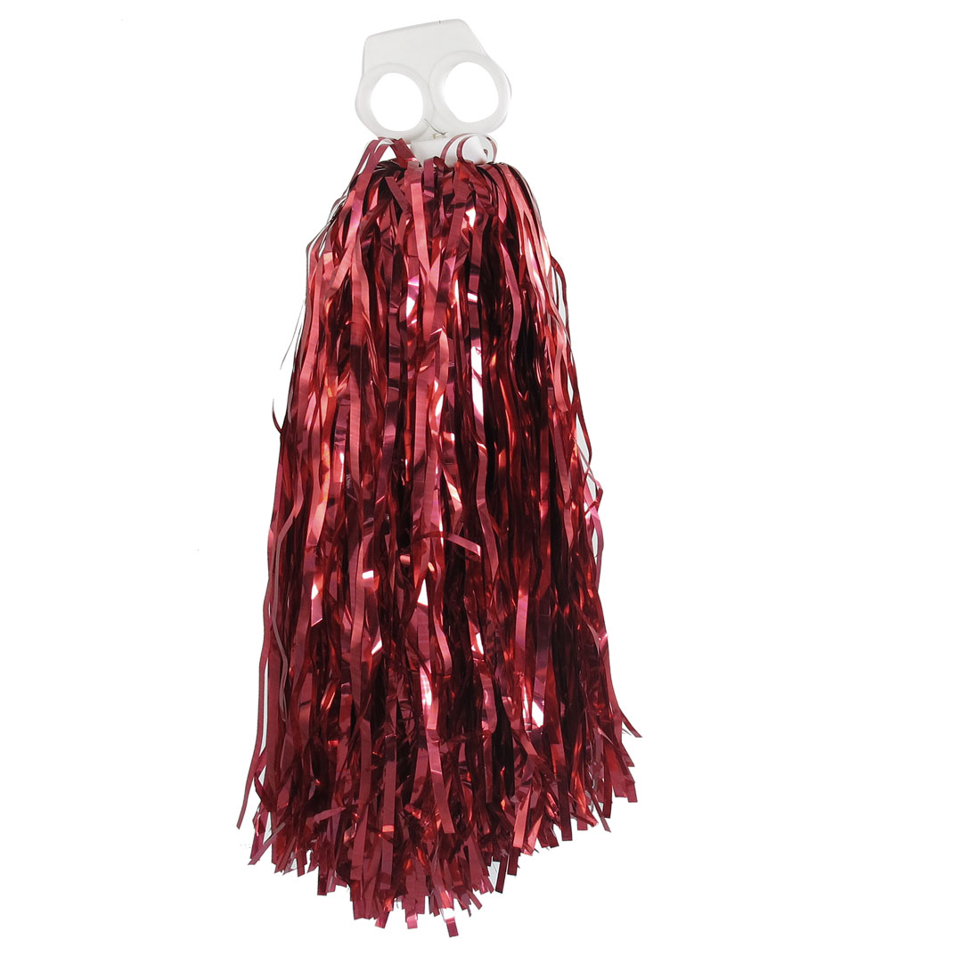 Unique Bargains Party Dancing Handle Tinsel Spirit Cheerleading Pom Poms Dark Red