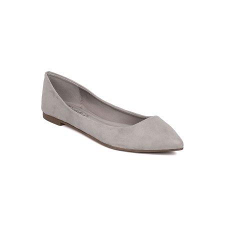 Women Faux Suede Pointy Toe Ballet Flat - Teal Ballet Flats