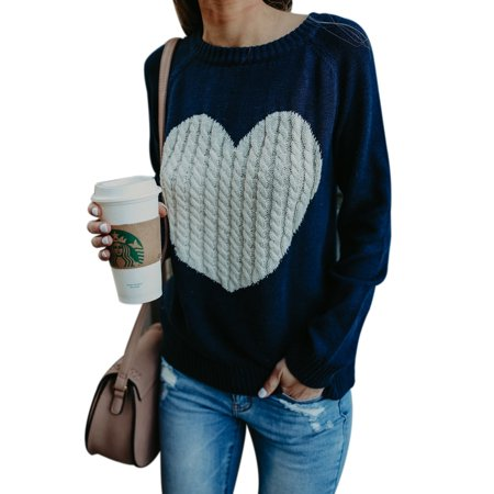 Casaul Fashion Women Knitted Sweater Jumper Knitwear Love Heart Cardigan Coat Outwear (Mugatu Sweater)