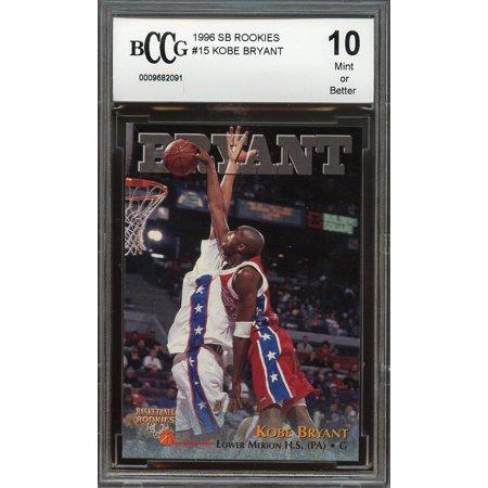1996 Sb Rookies  15 Kobe Bryant Los Angeles Lakers Rookie Card Bgs Bccg 10