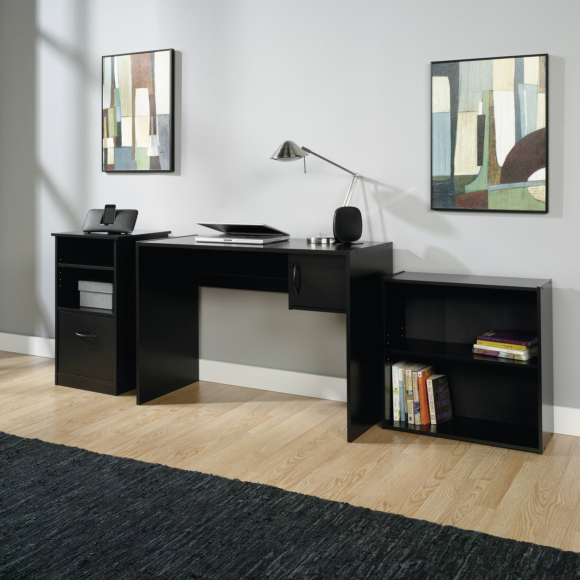 mainstays 3 piece office set black walmartcom - Home Office Desk Design