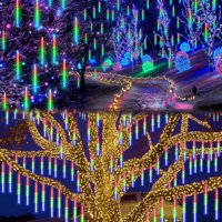 EEEKit Meteor Shower Lights LED Falling Rain Lights 30cm 8 Tubes 144leds, Christmas Lights Falling Rain Drop Icicle Cascading String Light for Christmas Holiday Garden Wedding Holiday Decoration
