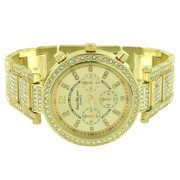 Gold Tone Womens Watch Custom Lab Created Cubic Zirconias Quartz Analog Ladies Luxury Jewelry