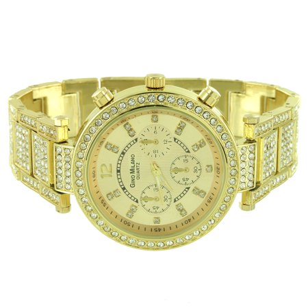 Gold Tone Womens Watch Custom Lab Created Cubic Zirconias Quartz Analog Ladies Luxury -