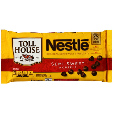 (3 Pack) NESTLE TOLL HOUSE Real Semi-Sweet Chocolate Morsels 12 oz Bag (Chocolate Baking Chunks)