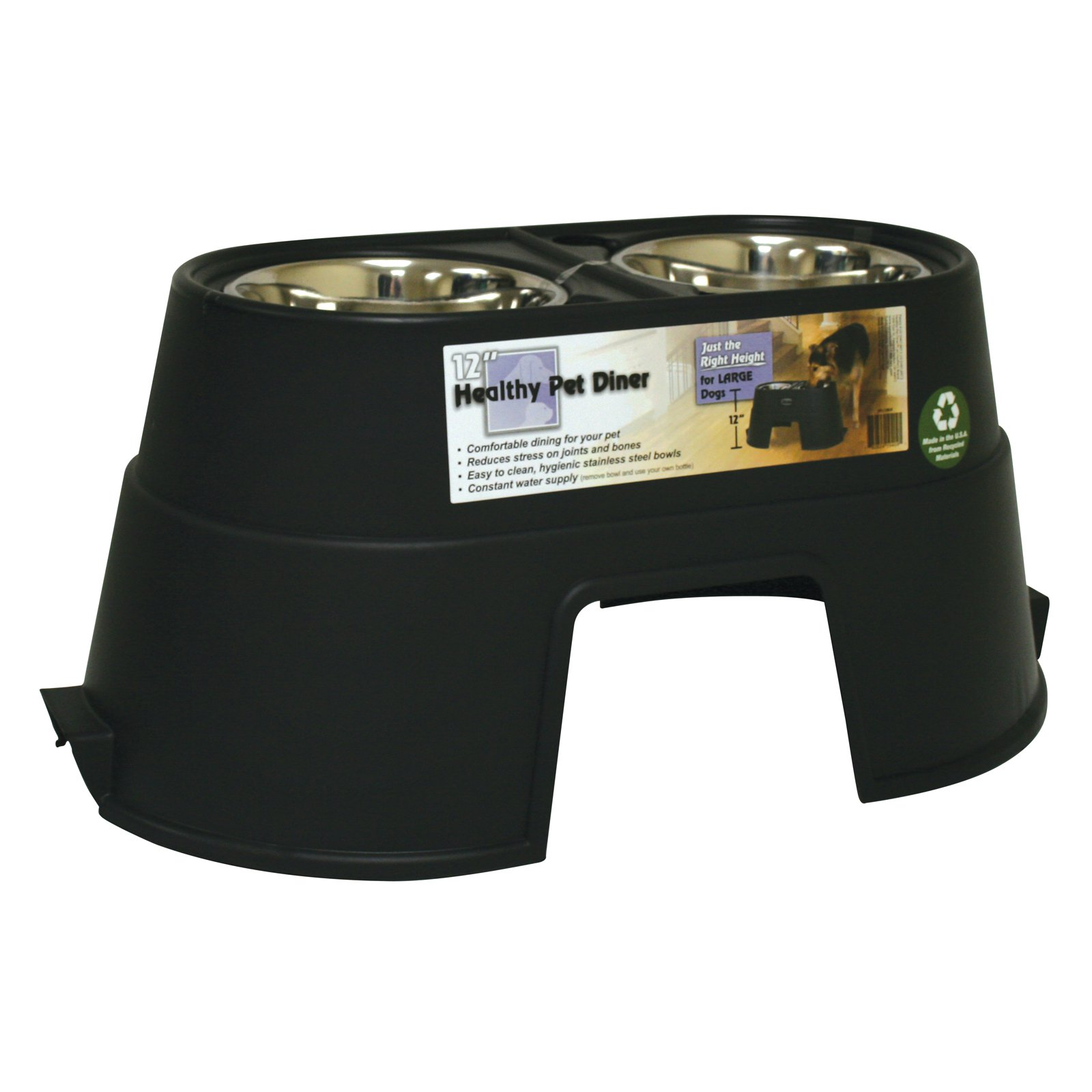 Healthy Pet Diner Double Dog Bowl Feeder - Recycled Black
