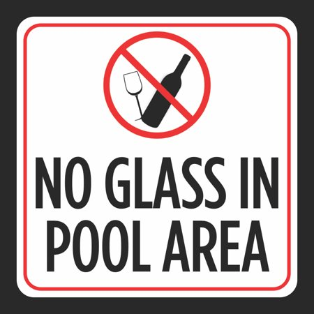 No Glass In Pool Area Picture Print Red White Black Caution Notice Swim  Swimming Pools Hot Tub Safety Signs, 12x12