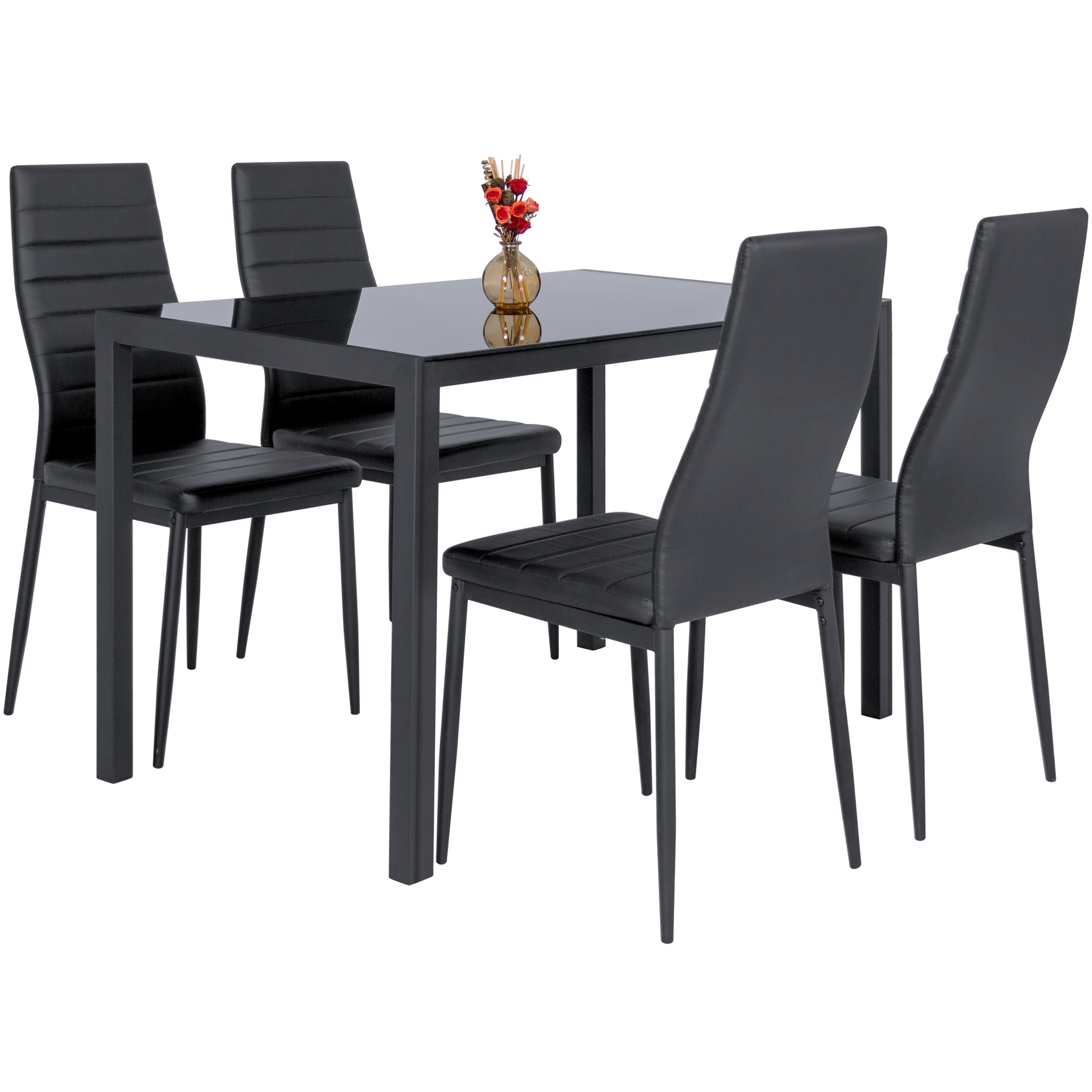 Best choice products 5 piece kitchen dining table set w glass top and 4 leather chairs dinette black walmart com