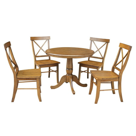 Pleasing 36 Round Dining Table With 12 Leaf And 4 X Back Chairs Pecan 5 Piece Set Short Links Chair Design For Home Short Linksinfo
