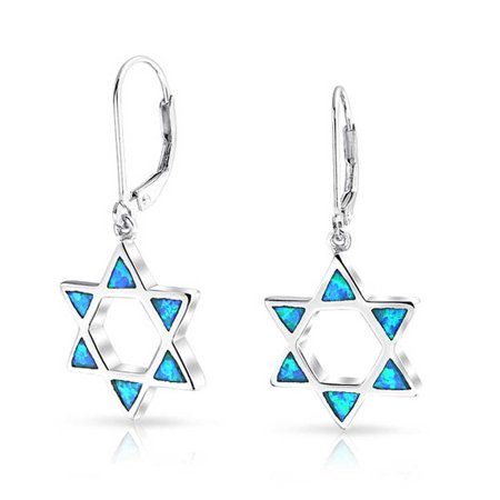 Blue Created Opal Open Religious Jewish Star of David Leverback Drop Earrings For Women For Teen 925 Sterling Silver