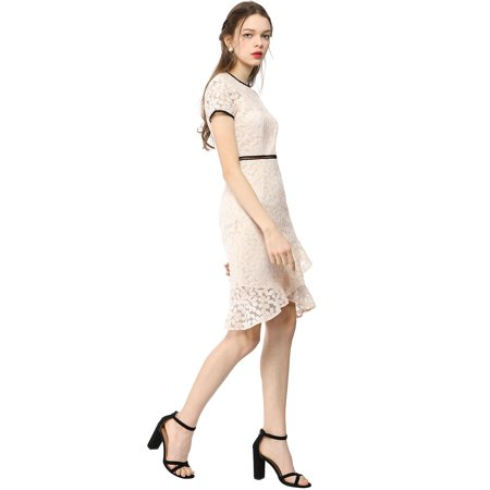 c98e8cc8267a Women's Short Sleeve Contrast Trim Ruffled Floral Lace Dress Beige XS (US  2) ...