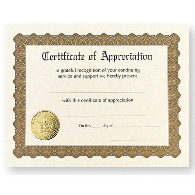B & H Publishing 152908 5.5 x 3.5 in. Certificate Appreciation - Pack of 6