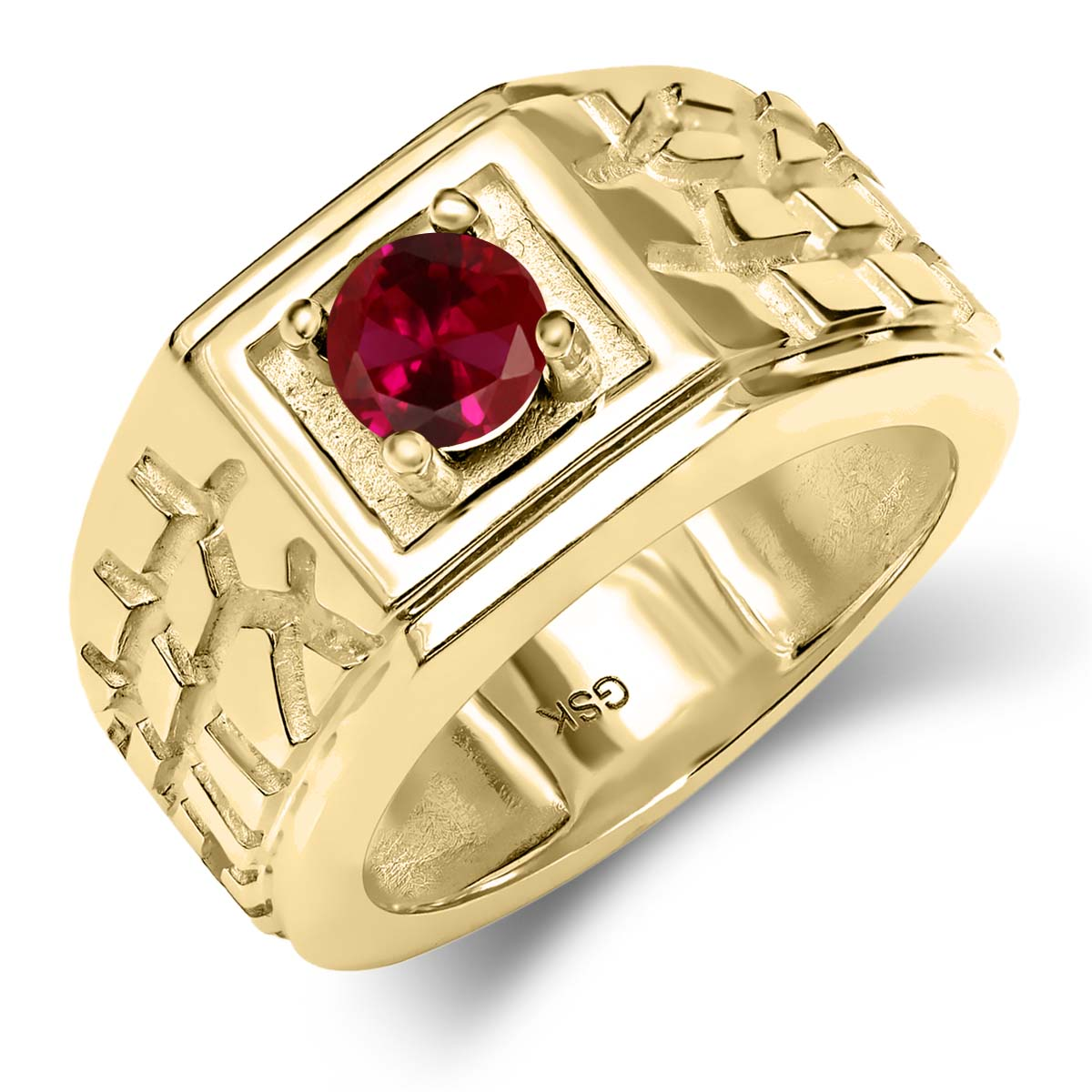 0.60 Ct Round Red VS Created Ruby 18K Yellow Gold Men's Solitaire Ring