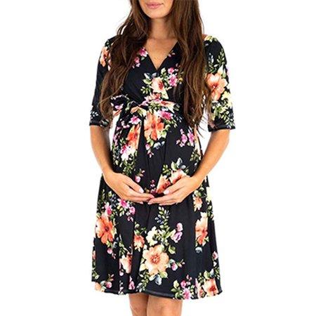 Women Maternity Floral Polka Dot Tie Waist Pregnant Short Tea Dresses