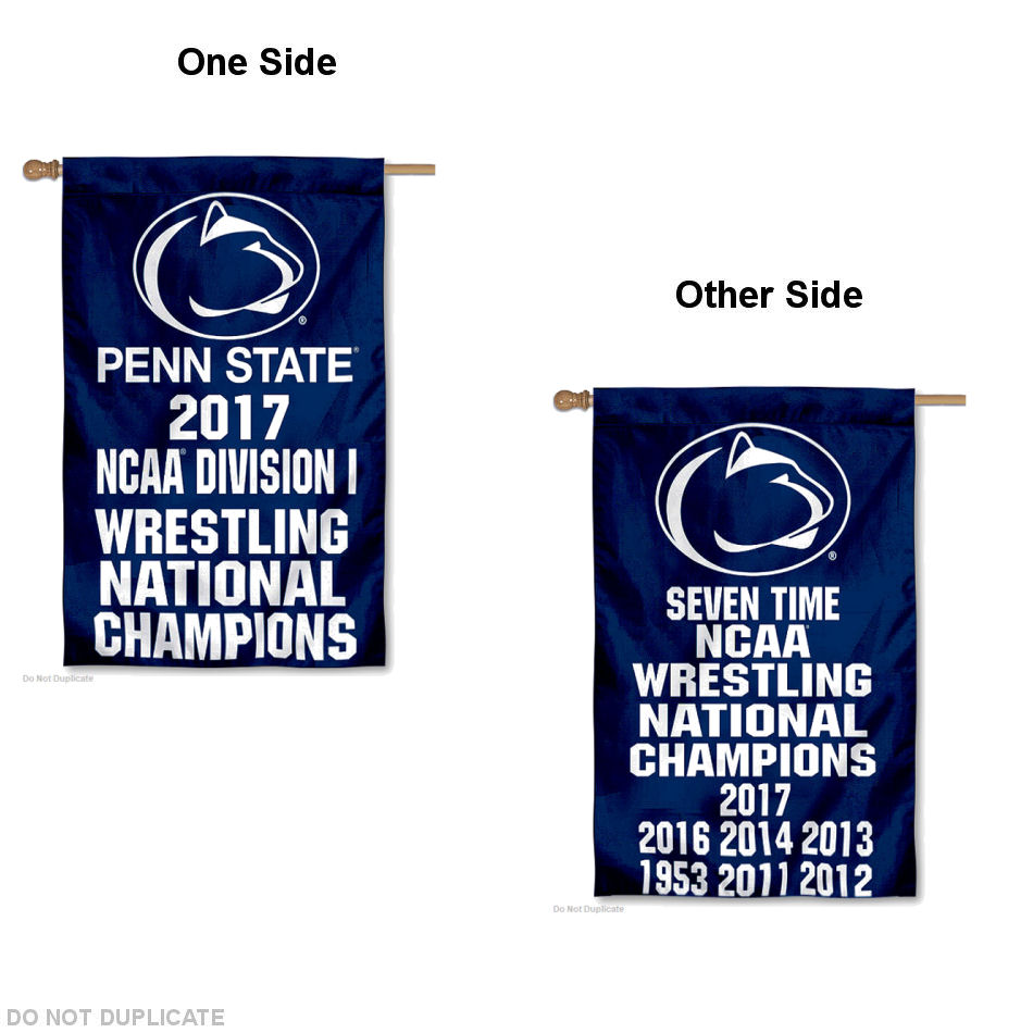 """PSU Nittany Lions Men's 2017 Division I Wrestling Champions 30"""" x 40"""" Double Sided House Flag by College Flags and Banners Co."""