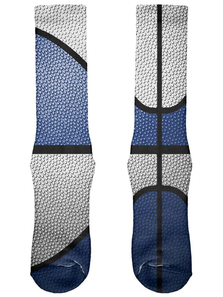 Championship Basketball Navy Blue & White All Over Soft Socks