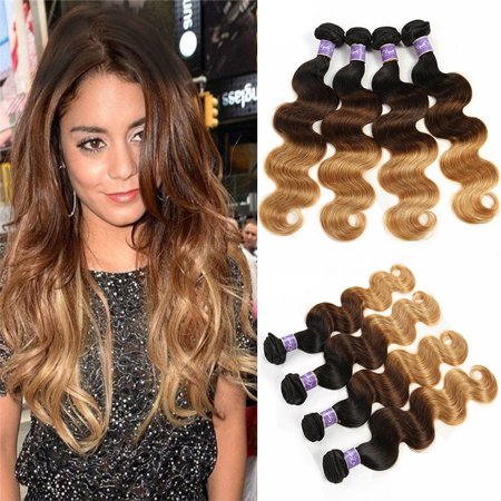 Kapelli Ombre Brazilian Virgin Hair Body Wave 4 Bundles Ombre Brazilian Hair T1B/4/27, 14