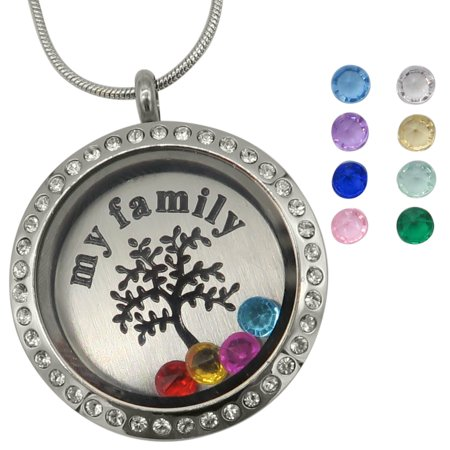 Evelots Family Tree of Life Floating Charm Locket Necklace, 12 Birthstones - Floating Charm Locket Necklace