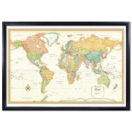 32x50 rand mcnally world classic push pin travel wall map foam board mounted or framed framed black