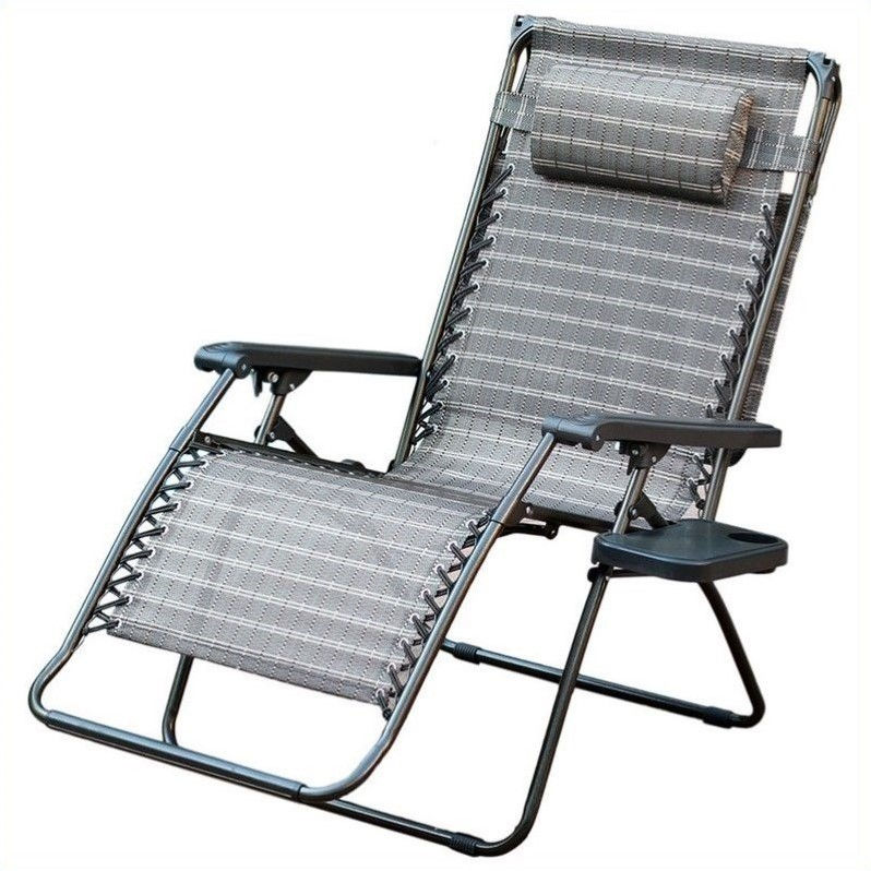 Jeco Oversized Zero Gravity Chair with Sunshade and Drink Tray in Pacific Blue (Set of 2 Chairs)