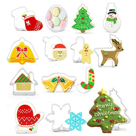 14Pcs Christmas Symbol - Santa Claus Snowman Elk Pine Tree Stainless Steel Cookie Cutters Set Assorted Shapes Candy Biscuit Chocolate Cake Molds ()